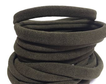 12 army green bands | wholesale bulk nylon band | headband | newborn / baby girl / little girl / adult / no dent