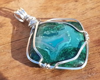 Gem Silica Chrysocolla Sterling Silver Pendant