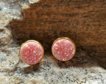 Pink Faux Druzy Earrings