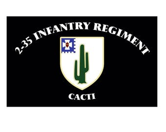 2-35 Infantry Cacti Flags 3'x5' and 2'x3' Set. Free Shipping!