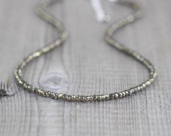 Pyrite Necklace in Sterling Silver, Rose or Yellow Gold Filled. Beaded Gemstone Choker. Long Layering Necklace. Dainty Delicate Boho Jewelry