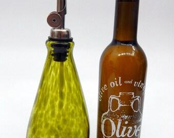 Lovely Olive Green  Hand Blown Oil and Vinegar Cruet ,Bottle, Bottle Pourer  by Rebecca Zhukov