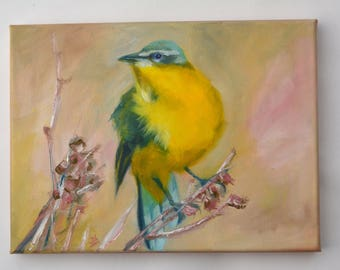 Small Oil Painting. Bird painting. Abstract bird art. Wall art. Canvas painting.  Daily Painting. Gift for her.