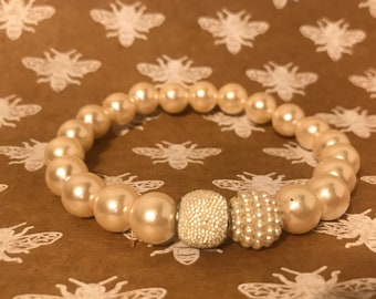 Faux Pearl Stretch Bracelet White Bridal Stretch Jewelry