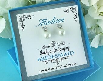 Bridesmaid Pearl Stud Earrings, Bridesmaid earrings, wedding jewelry, pearl earrings, flower girl earrings, Carolyn Bridesmaids Earrings