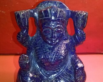 Natural Gemstone Lapis Lazuli Goddess Lakshmi - Indian Goddess Lakshmi Statue - Hand Carved Lapis Lazuli Goddess Lakshmi Sculpture