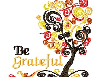 Grateful Tree -Machine Embroidery Design