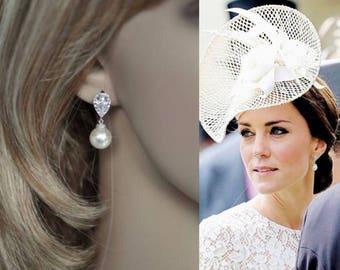 Rhodium, Rose or Yellow Gold-- Handmade Celebrity Inspired Cubic Zirconia & Pearl Bridal Earrings, Bridal, Wedding (Pearl-343)