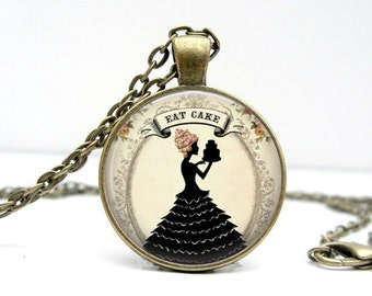 Eat Cake Necklace Glass Picture Pendant Photo Pendant Handcrafted Jewelry by Lizabettas (1650)