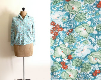 vintage blouse green shirt 1970s womens clothing floral print retro size s small