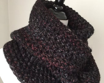 Chunky Crochet Cowl Scarf, Black, Red and Grey Infinity Cowl