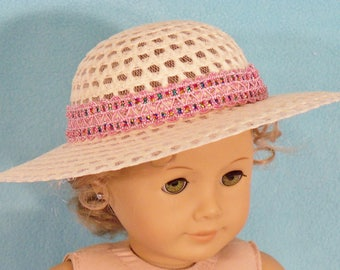 18 inch Doll Chic Straw Hat With Pink Glamour Band