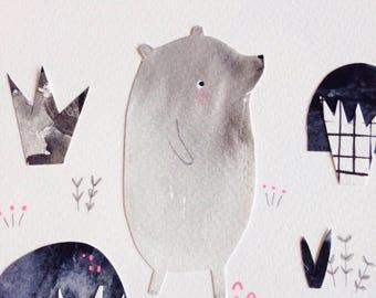 Strolling Bear Monochrome OOAK collage art