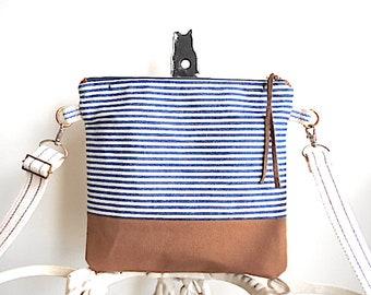 Vtg selvedge indigo stripe denim, canvas crossbody, iPad bag - eco vintage fabrics