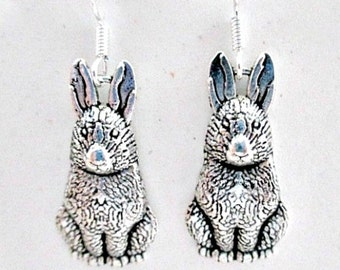 Bunny Rabbit Pierced Earrings on 925 Silver Wires - New Bunny Charm Jewelry Gift