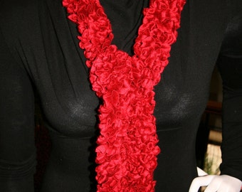 Deep Red Long Crocheted Holiday Scarf