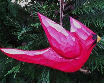 Hand Carved,Bird Ornament (Cardinal)