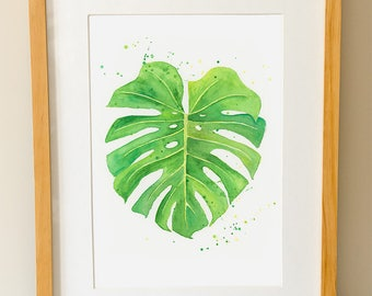 Monstera Leaf, Tropical Leaf Print, Monstera Deliciosa, Swiss Cheese Plant, Kitchen Art, Plant, Botanical, Watercolour, Watercolor Print,
