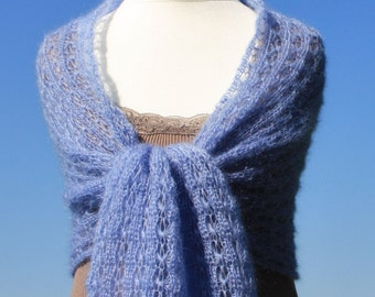 Bridal shawl, Knitted wrap, knitted shwal, knitted stole, wedding wrap, mohair wrap, kid-mohair / silk, blue, light blue, lace
