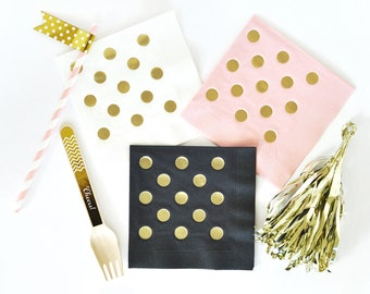 Gold Polka Dot Napkins (set of 25)/Gold Foil Napkins/Polka Dot Napkins/Baby Shower Napkins/Birthday Party Napkin // Wedding Shower Napkins
