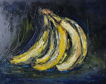 Banana / banana oil / still life / painting in the kitchen / yellow / impressionism / contrast / palette knife / oil painting