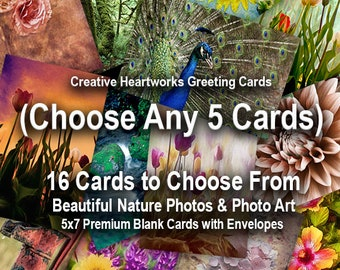 Photo Greeting Card Set - Choose Five (5) Cards - Beautiful Nature Photos and Digital Art - Mix & Match - 5x7 Folded Cards with Envelopes