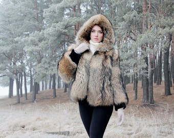 Real raccoon Fur coat Fur jacket for women bomber jacket Long coat Winter Hooded coat Vintage fur coat Womens winter jacket Gift for her