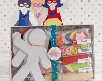 Super hero Doll Paper Puppet Craft Kit Set of 30