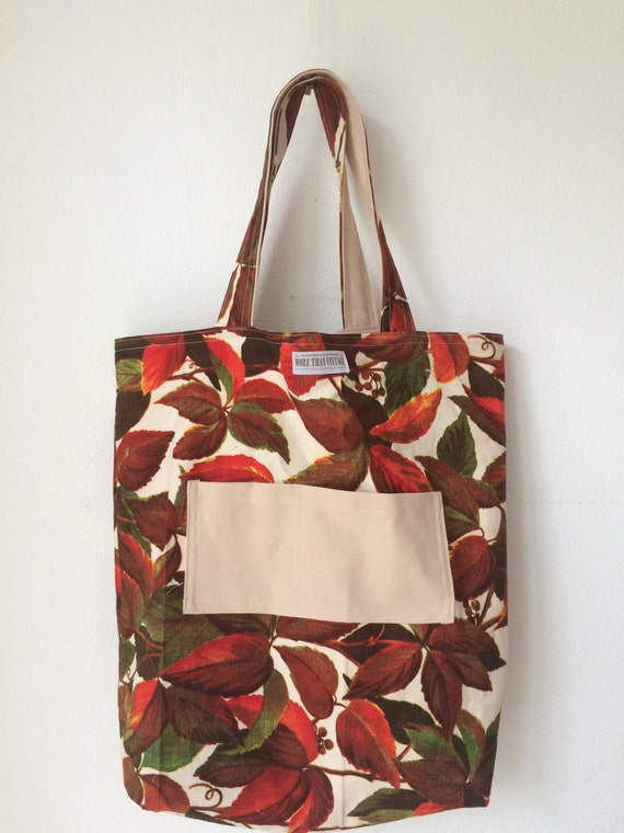 Handmade tote bag | shopping bag | Boussac fabric | canvas tote bag | reversible handbag