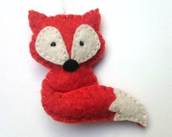 Felt fox ornament -  Christmas home decoration with woodland animals eco-friendly decor for nature themed Baby shower