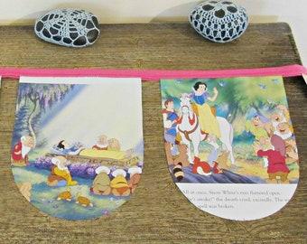 SALE Snow White Birthday Party Bunting - Nursery Neon Pink Seven Dwarves - Children Banner Baby Shower Decoration - Supplies Fairytale