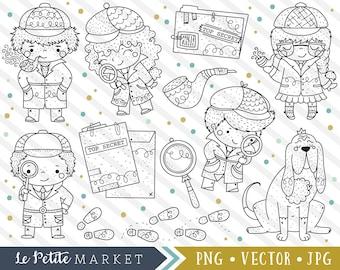Detective Clipart Set, Exploration Clipart, Mystery Clip Art, Cute Detective Kids, Digital Stamps, Blood Hound, Top Secret, Crime Clipart