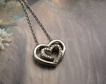 """Diamond Heart Necklace Sterling Silver 18"""" Chain"""