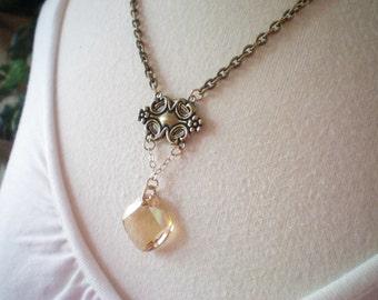 V I C T O R I A   II - Swarovski Crystal Antiqued Gold Pendant