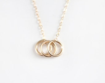 Triple Rings Necklace - 14k Gold Filled Rings - Sisters
