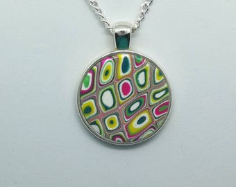 Polymer Clay Round Pendant Necklace D200111