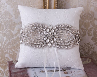 Crystal Wedding Ring Pillow, Wedding Pillow, Rhinestone Ring Bearer Pillow, Ring Pillow, Wedding Ring Bearer