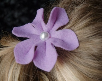 Hair Bow - Lilac Felt Six Petal Flower Clip with Pearl Center