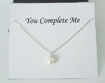 Solitaire White Pearl Sterling Silver Necklace ~~Personalized Jewelry Gift Card for Friend, Sister, Mom, Daughter, Bridal Party, Wife