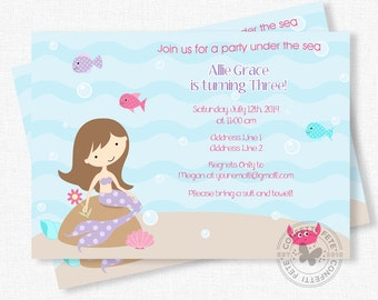 Mermaid Birthday Invitation, Mermaid Party, Under the Sea Birthday, Pool Party Invitation, Mermaids