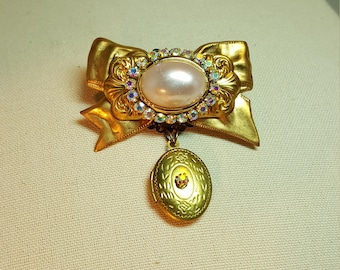 Re-purposed, upcycled assemblage vintage style pin brooch with locket