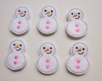 White Felt Embroidered Snowmen with Pink Buttons - 274