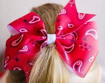 Hair Bow - Large Red Paisley Pinwheel Bow