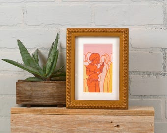 """5x7"""" Picture Frame in 1x1 Decorative Bumpy Style with Vintage Roman Gold Finish - IN STOCK - Same Day Shipping - Handmade 5 x 7 Frame"""