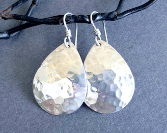 Sterling Silver Teardrop Earrings Hammered Silver Dangle Earrings Modern Metal Jewelry Silver Drop Earrings Simple Everyday Jewelry