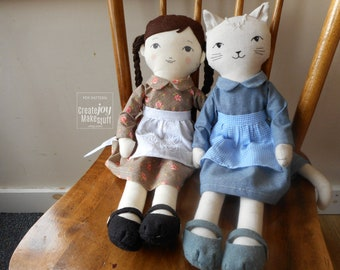 """For 18"""" Doll & Cat - Dress and Apron Sewing Pattern - Dress up - Rag doll"""