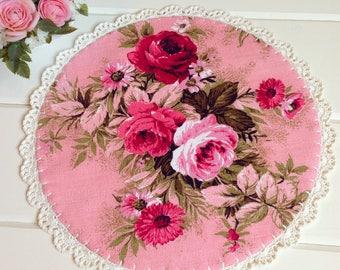 pretty vintage pink roses barkcloth doily