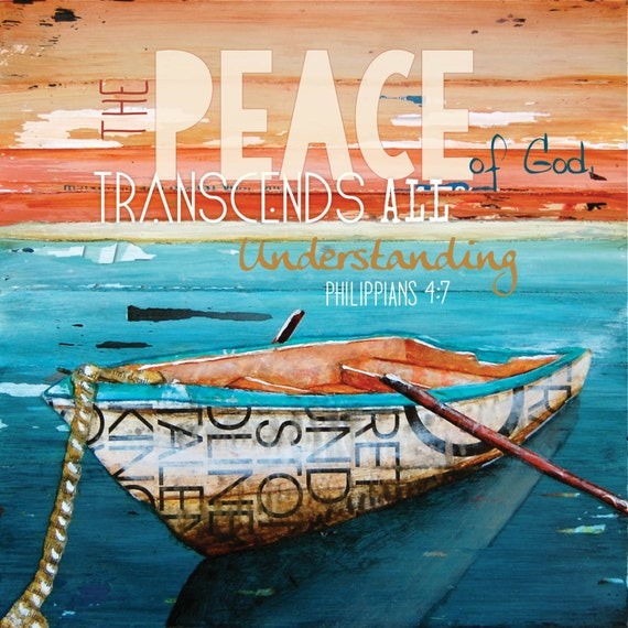 Peace of God, row boat, tranquility- All Sizes- Fine Art Word Print