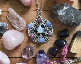 Flower of Life Necklace // Amethyst, Lepidolite, Angelite, Goldstone, Rainbow Moonstone Crystal Grid Necklace // Sacred Geometry Necklace