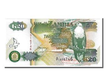 zambia 20 kwacha 1992 km #36b unc(65-70) a/f